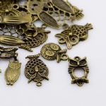 Mixed Owl Charms - Antique Bronze
